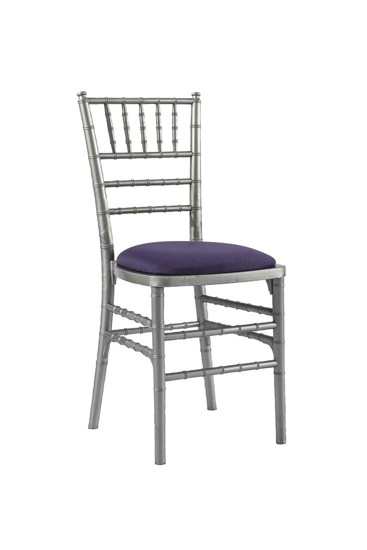 Silver Chivari chair with Purple Seat Pad, Is a modern design stackable eco-friendly resin chair, shown here with a Purple seat pad but is also available in various coloured seat pads. http://www.eventhireonline.co.uk/chairs/chivari