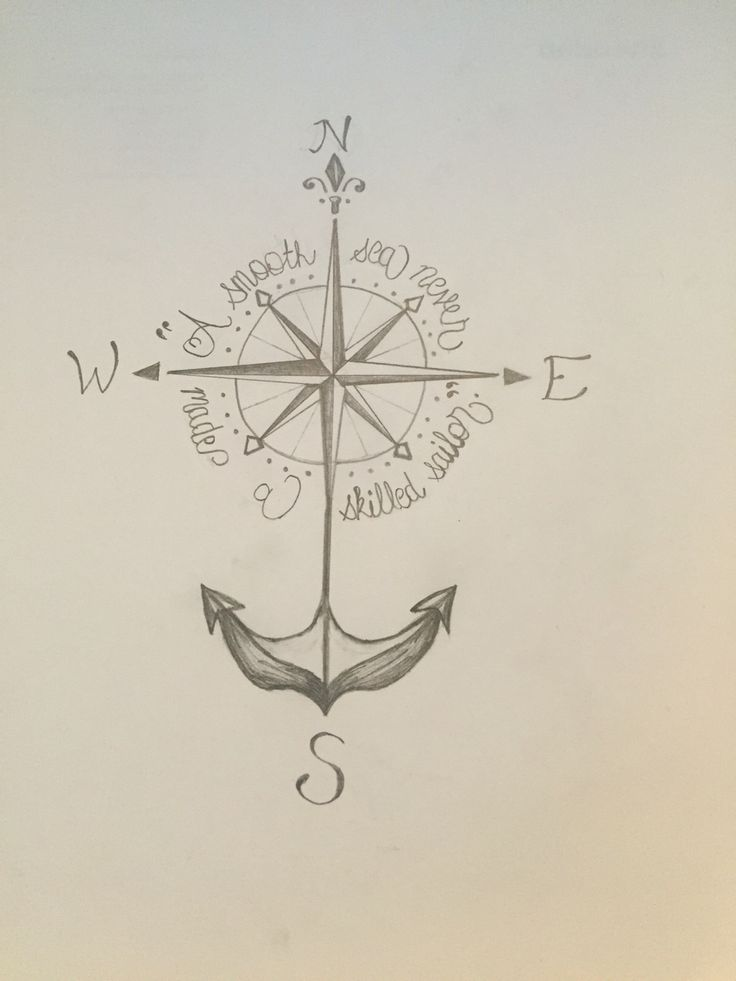 "Compass anchor tattoo ""A smooth sea never made a skilled sailor"""