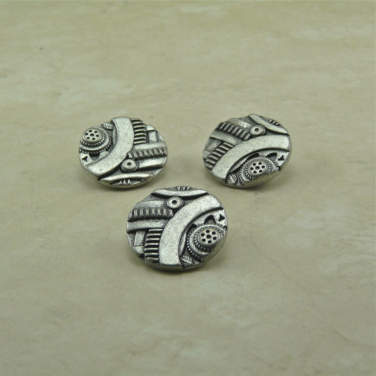 5/8  Antique Silver Gadget Steampunk Buttons Button