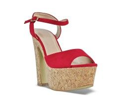28€ Chunky hell sandal, red and suede pattern. Visit our website now!