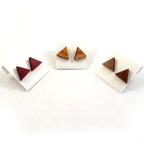 Sustainable Wooden Post Earrings - Triangles, Simple Studs - in Oak, Walnut, or Red Stained Maple - Wood Studs