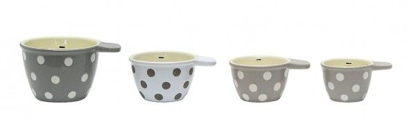 Gray and White Polka Dot Measuring Cups