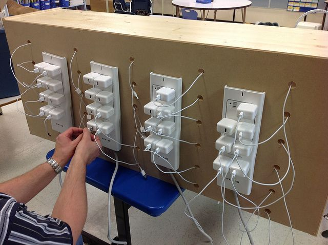 back of diy ipad charging station