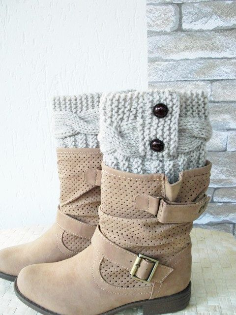 Hand Knitted Boot Cuffs Beige Leg Warmers Boot Cuffs   by Ebruk