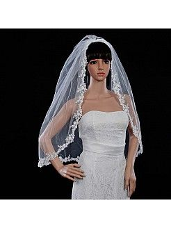 1 Tier Ivory Elbow Length Sequined Applique Edged Wedding Veil - USD $23.99