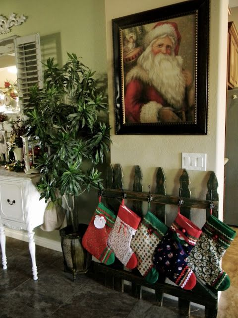 Old Fence Turned Stocking Holder
