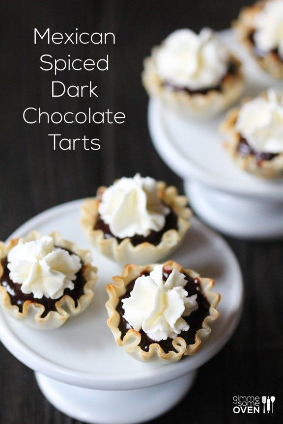 Mexican Spiced Dark Chocolate Tarts -- super easy to make, and wonderfully rich and delicious | gimmesomeoven.com
