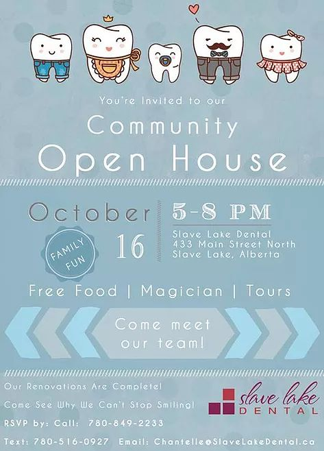 On October 16, 2014 we held our Slave Lake Dental Community Open House and it was a blast! We showcased our renovations and photography work by Picture This Photography. We gave tours of our office and lab, introduced everyone to our team and doctors while entertaining the little ones with the illusionist Rodzilla. We had delicious food served fresh by Tony's Custom Catering and a hilarious photo booth!