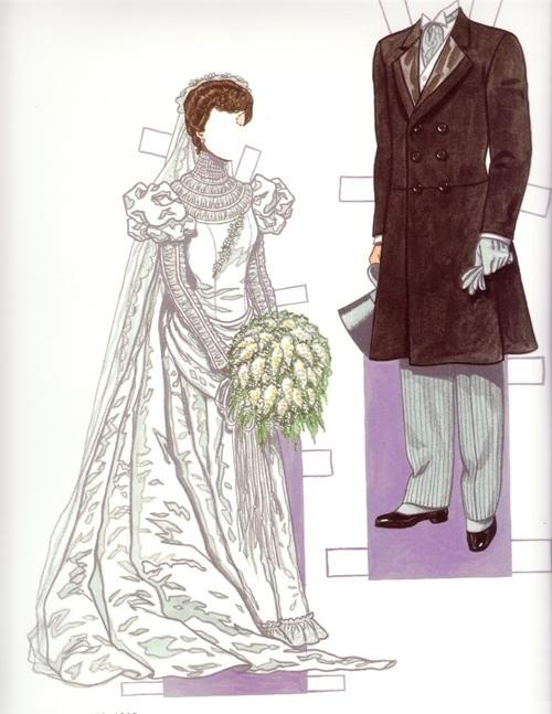 """Bride & Groom 1900s*1500 free paper dolls at Arielle Gabriel""""s The International Paper Doll Society and free Chinese Japanese paper dolls at The China Adventures of Arielle Gabriel *"""