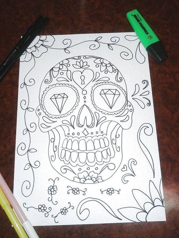 sugar skull colouring halloween adult coloring page instant download art book gothic wedding horror printable print digital lasoffittadiste