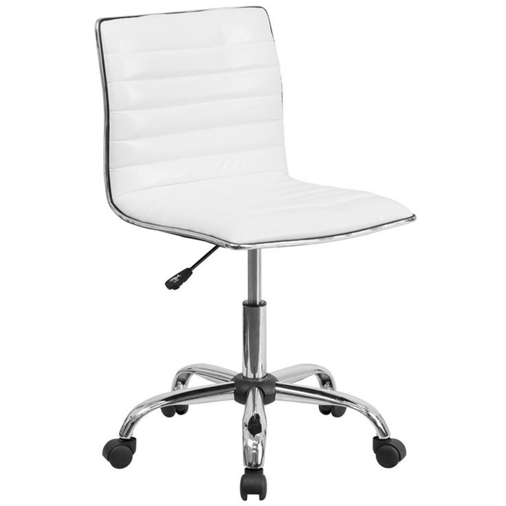 Mid-Back Designer Ribbed White Leather Office Chair / Task Chair