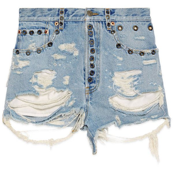 Gucci Shredded Bleached Denim Shorts (19.319.630 VND) ❤ liked on Polyvore featuring shorts, short jean shorts, ripped jean shorts, ripped shorts, jean shorts and ripped denim shorts