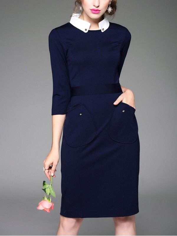 Chic Daytime Dress! Blue and White Square Collar Side Pockets Decoration Midi Dress #Blue_and_White #Work_Dresses #Daytime_Dresses #Working_Woman #Fashion