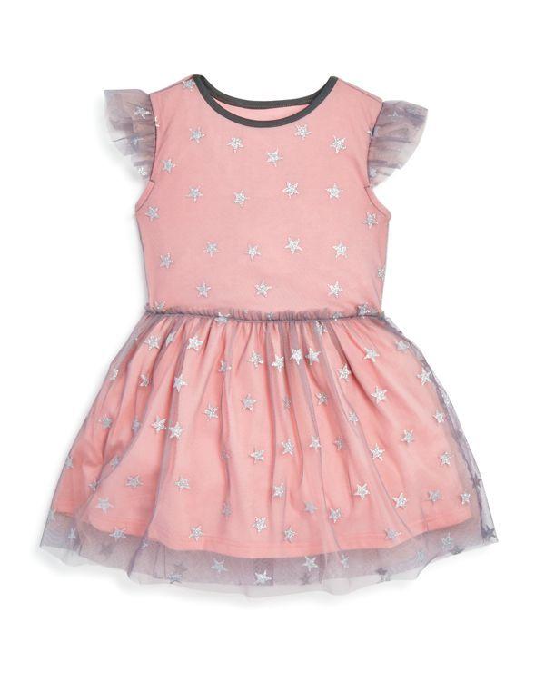 Bloomie's Girls' Starry Sheer Mesh Overlay Dress - Sizes 2-6X