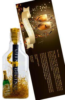 Flessenpost - Originele uitnodiging voor kerstfeest, nieuwjaarsborrel of kerstreceptie...   #originele #diy #invitations #event #personeelsfeest  #receptie  #feestje #leuke #kerstfeest #zelfmaken #maken #opening #kerstborrel #personaliseren