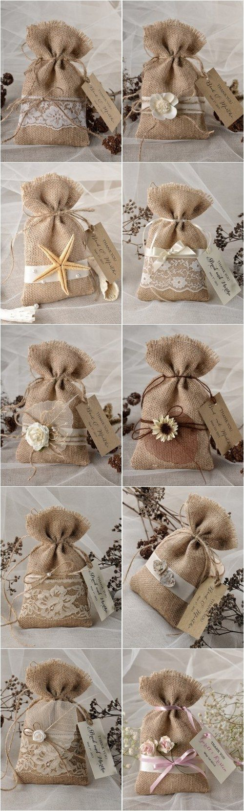 Rustic Country Burlap Wedding Favor Bags 4LOVEPolkaDots