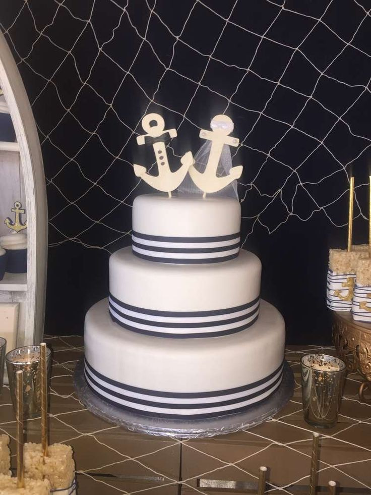 Stunning cake at a nautical wedding party! See more party planning ideas at CatchMyParty.com!