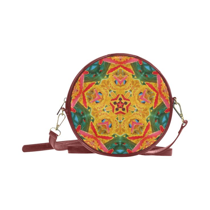 orchid kaliedoscope Round Messenger Bag (Model 1647)