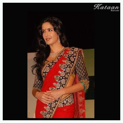 #Katrina flaunts her beauty in a beautiful RED saree