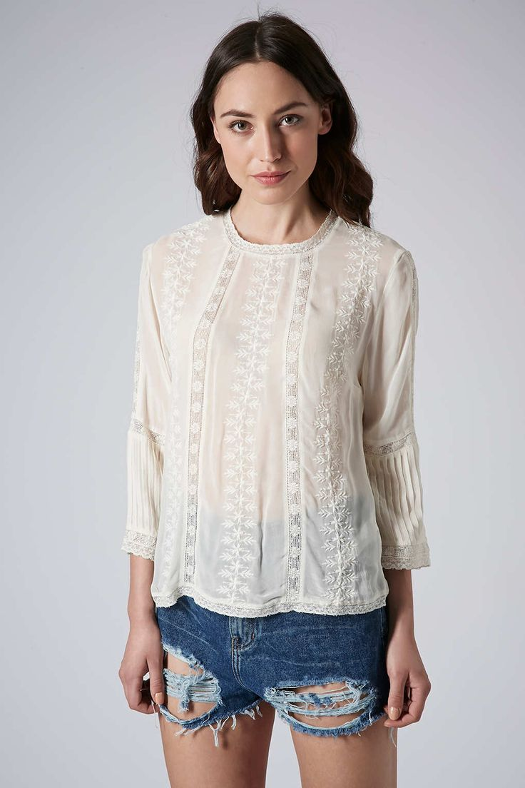 Embroidered Blouse - Topshop USA