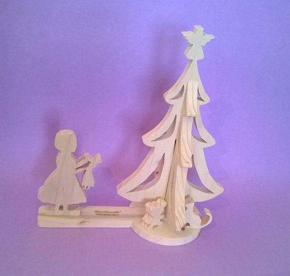 Decorazioni natalizie in legno, scena dell'albero (Cod. NAT010)