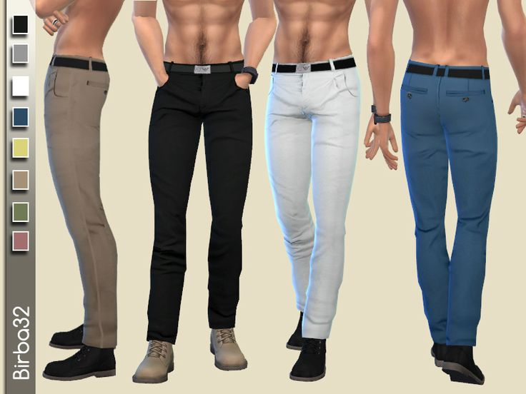 A pair of pants with belt in eight colors. Also works great with boots.  Found in TSR Category 'Sims 4 Male Everyday'