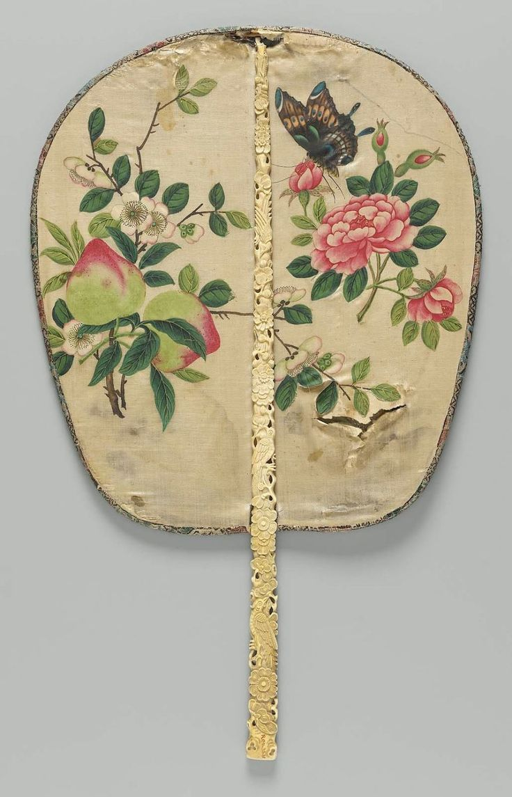 Rigid fan (pien mien); carved ivory stick handle and painted silk fan.