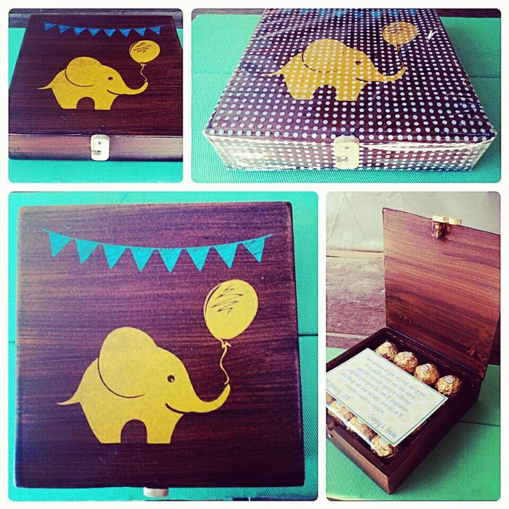 Wooden box to give away chocolates as baby announcement goodies  :))