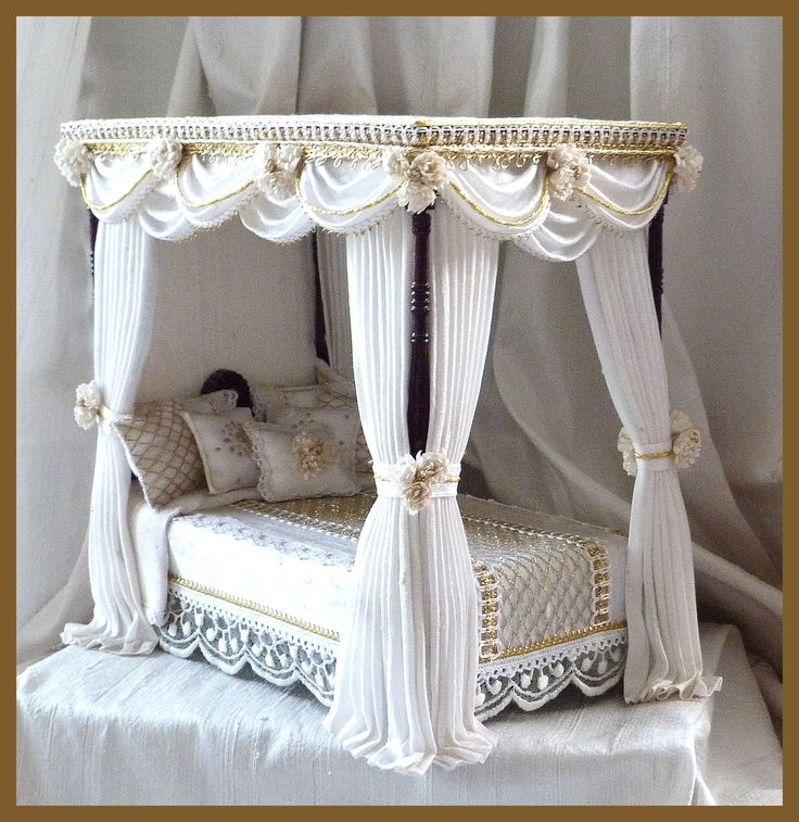 Four Poster Dollhouse Bed. Dollhouse IdeasDollhouse FurnitureMiniature FurnitureDoll  FurnitureDoll House ...