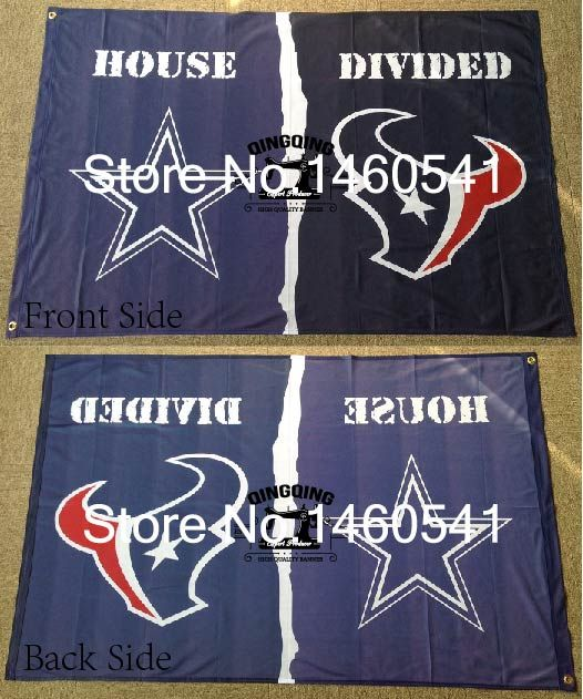 Dallas Cowboys Houston Texans House Divided Flag 3ft x 5ft Polyester NFL Banner Size No.4 144*96cm QingQing Flag