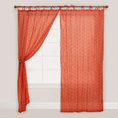 Our crinkle voile, tie top Red Japanese Wave Print Curtain adds a pop of color to your living space. Decorated with a fun Japanese wave design, this lightweight curtain filters in the sunshine and brings a colorful, casual touch to any room.