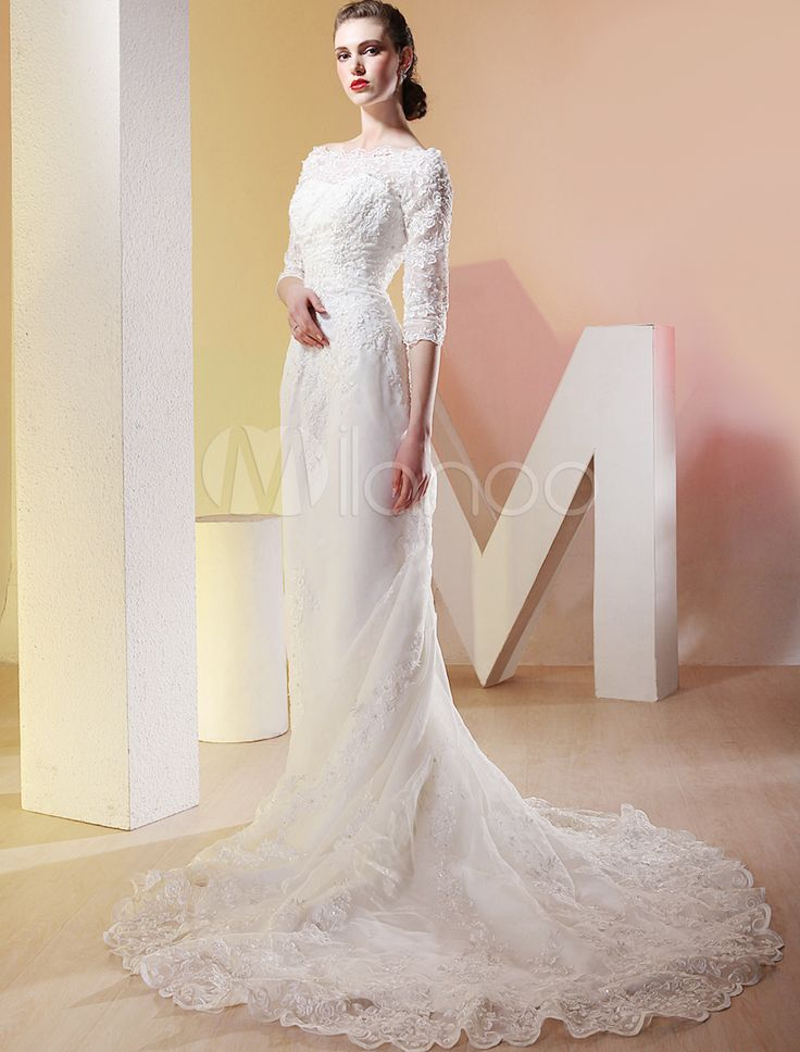 Best 25 luxury wedding dress ideas on pinterest wedding for Wedding dresses with three quarter length sleeves