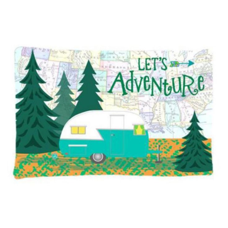 Carolines Treasures Lets Adventure Glamping Retro Trailer Decorative Outdoor Pillow - VHA3003PW1216
