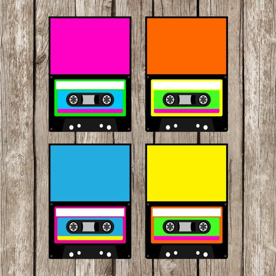 80s Retro Cassette Food Labels - Retro 80s Birthday Party - Personalized DIY Printable