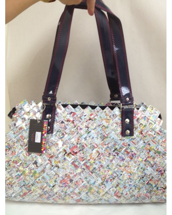Nahui Ollin Bag handmade Made in mexico Candy paper magazine wrap recycle $125.00