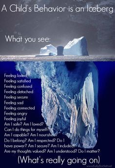 A child's Behavior is an Iceberg.  What you see and what's really going on can be so different.  Take the time to see what's really doing on under the surface.