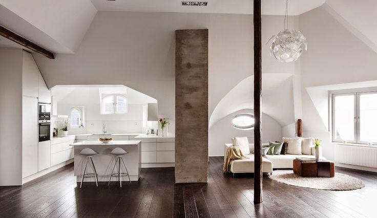 Jurnal de design interior - Amenajări interioare : Amenajare minimalistă într-o mansardă din Suedia