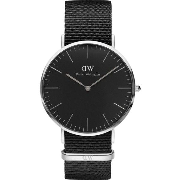 Daniel Wellington Classic Cornwall stainless steel watch ($140) ❤ liked on Polyvore featuring jewelry, watches, stainless steel watches, black dial watches, stainless steel jewellery, stainless steel wrist watch and daniel wellington watches