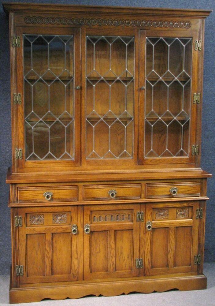 old charm lancaster carved oak leaded display cabinet on sideboard rh pinterest com