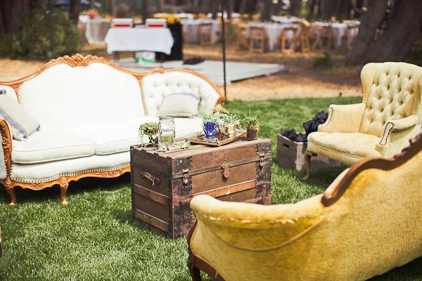 """Furniture creates cozy """"rooms"""" outside. These remind me of the chairs we have."""