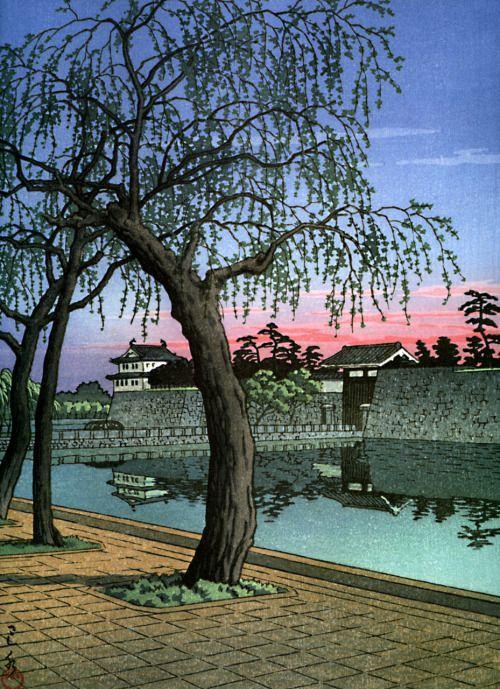 Japanese Ukiyo-e: Sunset Glow at Otemon Gate. Hasui Kawase. 1952