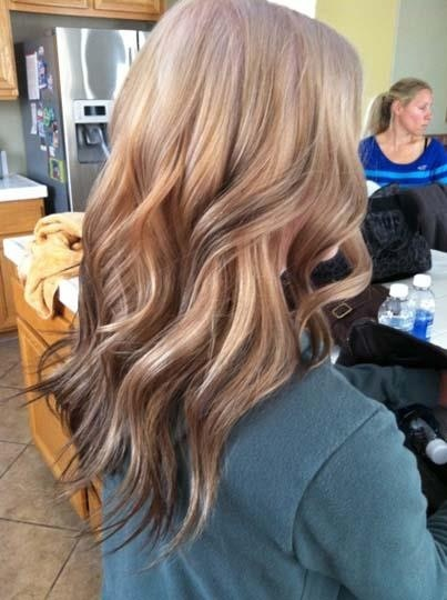 Reverse ombré using brown lowlights toward end of shaft. #Behindthechair