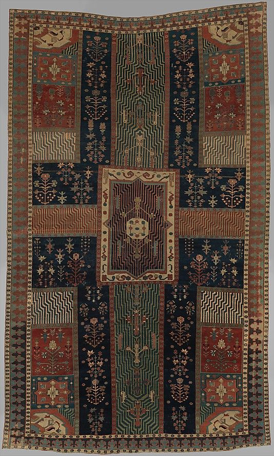 Persian Garden Carpet Object Name: Carpet Date: second half 18th century Geography: Iran, Kurdistan Medium: Cotton (warp and weft), wool (pile); asymmetrically knotted pile Dimensions: Carpet: L. of left edge: 122in. (309.9cm) L. of center edge: 121 1/2in. (308.6cm) L. of right edge: 123 1/2in. (313.7cm) W. of top: 75in. (190.5cm) W. of bottom: 73 1/4in. (186.1cm) Tube: Diam. 9 in. W. 95 1/4 in. Classification: Textiles-Rugs