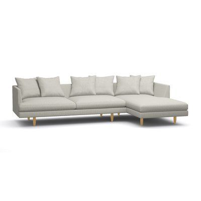 """BenchMade Modern Crowd Pleaser Sectional Size: 31"""" H x 121"""" W x 63"""" D, Body Fabric: Burlap, Leg Finish: Espresso, Sectional Orientation: Left Facing"""