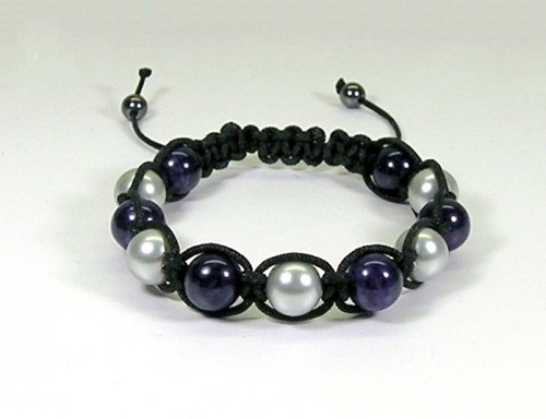 Macrame Bracelet with Purple Dragon Vein and Silver Pearls   HCLTreasures - Jewelry on ArtFire