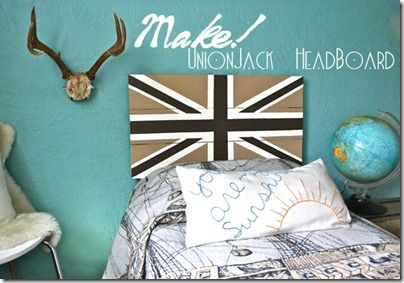 DIY Boy Bedroom with Union Jack Headboard