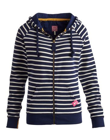 Joules LEATON Womens Hooded Zip Sweat, Navstrp. A heavyweight hooded top, made for mornings when the sky is clear and the air is fresh. Perfect to pack for a weekend away. The contrast-lined hood adds to the cosiness of this cotton-rich classic