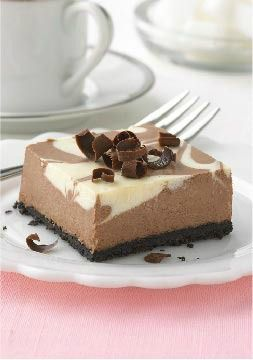 PHILADELPHIA Chocolate-Vanilla Swirl Cheesecake -- This dessert recipe sports impressively swirled chocolate and vanilla cheesecake--and, most impressive of all, it takes only 15 minutes of prep. Just marble-ous.