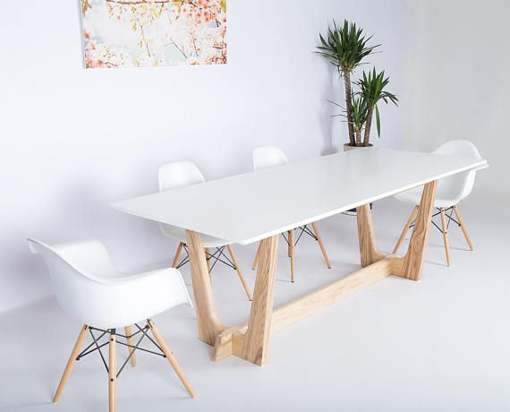 Modern Dining Table Midcentury White Contemporary
