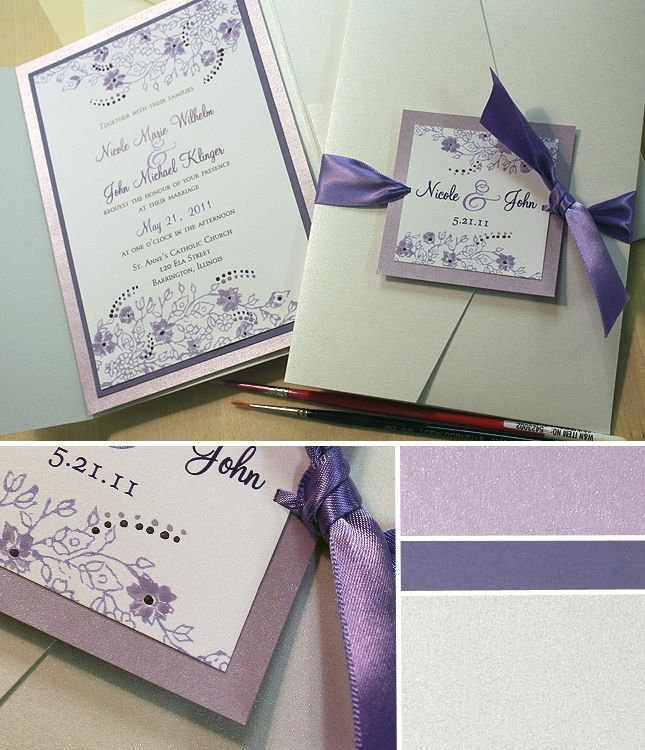 wedding invitation sample by email%0A Purple Wedding Ideas  Vintage Lacy Stamp Wedding Invitation